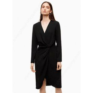 Aritzia Babaton Tadao Wrap Front Black Dress Small